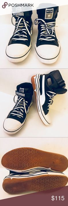 Puma x mihara yashuhiro cutout hi tops Black and white leather hi tops. Used only once. EXCELLENT CONDITION. Orig .$275 Miharayasuhiro Shoes Sneakers
