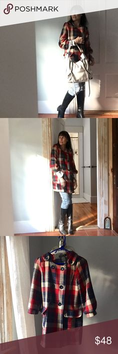 Lovely Anthropologie plaid coat Anthropologie Helena 213 buttoned coat,- pretty on, easy enough cut for a sweater beneath, 3/4 sleeve, brightens your day! Euc Anthropologie Jackets & Coats