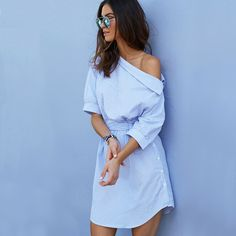 2016 Fashion one shoulder Blue striped women shirt dress Sexy side split Elegant half sleeve waistband Casual beach dresses