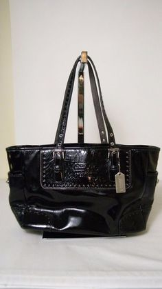 9866c7e06157e Details about Coach Black Patent leather Tote Shoulder bag No. F040-1432