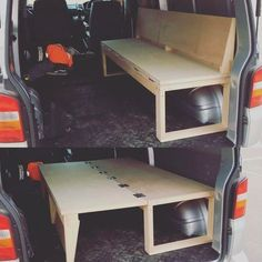 10 Camper Van Bed Designs For Your Next Van Build : One of the most unique bed designs I have seen. This is perfect for a camper! I love this little van hack to make both a bed and a seat! Camping Diy, Truck Bed Camping, Camping Ideas, Camping Stuff, Camping Essentials, Camping Hacks, Minivan Camping, Family Camping, Outdoor Camping