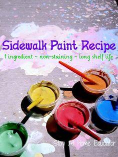 One Ingredient Sidewalk Paint Recipe - Stay At Home Educator