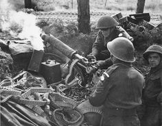 British troops using a Vickers for indirect fire,  Overloon, the Netherlands - WWII