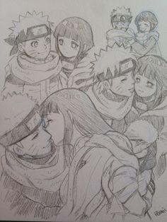 Naruto e Hinata (NaruHina) Naruto Uzumaki, Anime Naruto, Naruhina, Art Naruto, Manga Anime, Hinata Hyuga, Naruto Drawings, Naruto Sketch, Anime Sketch