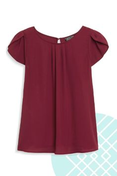 Love this color!  Stitch Fix Papermoon Bastille Tulip Sleeve Blouse in burgundy, available in petites! $44