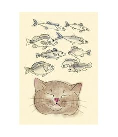 Cat Art print   I Heart Fish   4 X 6 cat print by matouenpeluche, $6.50