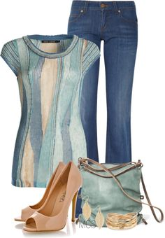"""""""Pumps and Denim"""" by mclaires ❤ liked on Polyvore"""