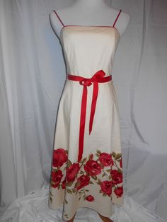 Jessica Howard Sz 6 Spaghetti Strap Floral Lined Empire Waist Retro Pinup Dress #JessicaHoward #Sundress #Casual