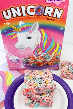 Unicorn Rice Krispies Treat Dessert: Fun For A Kid's Party Rice Krispies, Rice Krispie Treats, Unicorn Themed Birthday Party, Unicorn Party, 7th Birthday, Fruit Loops Cereal, Unicorn Sprinkles, Rice Recipes For Dinner, Dessert Aux Fruits
