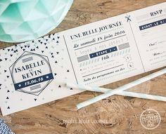 faire-part mariage format billet concert pass festival motif triangles et logo mariage pictos