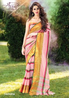 Sarees - Baby Pink And Golden Exquisite Aura Silk Collections - Wedding / Party / Special Occasions Designer Sarees Online Shopping, Latest Designer Sarees, Wedding Saree Collection, Net Saree, Handloom Saree, Indian Attire, Party Wear Sarees, Saree Wedding, Cotton Saree