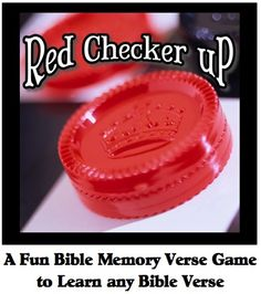 "Here is a fun Bible school activity to help your kids learn any Bible verse.  It's called ""Red Checker Up"". For this game you will need to go buy a cheap checker set.  I found mine at my local dollar store. Click through to learn more. http://scripturelady.com/red-checker-up-a-super-bible-memory-verse-activity-for-elementary-kids/"