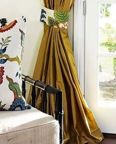 Custom Silk Drapery in Antique Dupioni Silk by DrapeStyle. Pillow and Tie-Back in Schumacher Hot House Flowers - Spark. Silk Curtains, Window Drapes, Window Art, Custom Curtains, Custom Pillows, Contemporary Curtains, Hot House, Silk Taffeta, How To Make Pillows