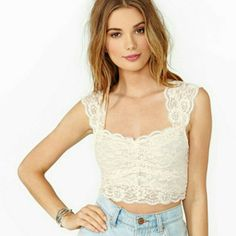 White lace crop top white lace. I can't pull off the crop top or I would keep it Tops Crop Tops
