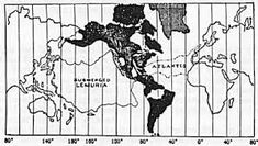 Map showing area of Continent of Mu, also known as Lemuria