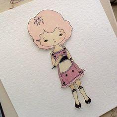 Artikulierte Paper Doll Print - Pfingstrose - sofort-Download