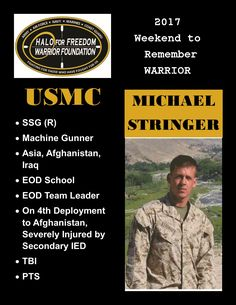 Meet 2017 Weekend to Remember Warrior Michael Stringer #SSG #EOD #LeaveNoVeteranBehind 18 D 10 H 59 M to liftoff! March 22-26, 2017 www.haloforfreedom.org