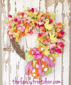 Tulpenkranz, Osterkranz, Frühlingskranz, Frühlingskranz für Haustür, Ostern ...   - Spring Decor - #decor #Frühlingskranz #für #Haustür #Osterkranz #Ostern #spring #Tulpenkranz Diy Crafts For Home Decor, Crafts To Do, Tulip Wreath, Floral Wreath, Wreaths For Front Door, Door Wreath, Etsy Wreaths, Spring Door, Easter Wreaths