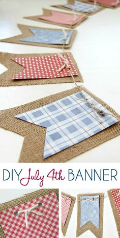 Patriotic Decor - Are you planning a fun celebration for the This cute of July DIY banner is perfect for decorating your mantle or your railing outside. Diy Banner, Pennant Banners, Bunting Banner, Paper Banners, Banner Ideas, Pennant Banner Template, Bunting Ideas, Patriotic Crafts, July Crafts