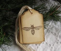 Vintage Bee Tags Brown and Cream Bumble Bee by SweetlyScrappedArt, $3.75