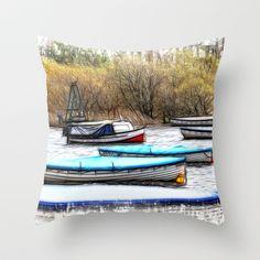 Balmaha Boats Throw Pillow by F Photography and Digital Art - $20.00