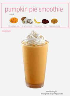 Vegan Smoothie Recipes, Healthy Smoothies, Vegan Recipes, Raspberry Smoothie, Smoothie Drinks, Pumpkin Pie Smoothie, Pumpkin Dessert, Vegan Meal Plans, Pumpkin Recipes
