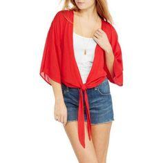No Boundaries Juniors' Tie-Front Kimono Top, Red