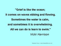 Grief is like he ocean; it comes on waves ebbing and flowing. Sometimes the water is calm, and sometimes it is overwhelming. All we can do is learn to swim. - Vicki Harrison
