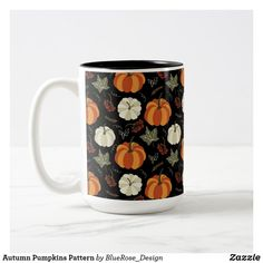 Autumn Pumpkins Pattern Two-Tone Coffee Mug Beer Mugs, Coffee Mugs, Cloth Napkins, Fall Pumpkins, Thanksgiving Decorations, Table Runners, Photo Mugs, Keep It Cleaner, Colorful Backgrounds