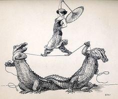 Rope Walk  Artist:Heinrich Kley  Date:1910-1920  Medium:Pen & Ink Drawing