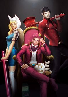e621 adventure_time axe bmo cake_the_cat candy cat chair crown feline fionna_the_human guitar human marshall_lee not_furry prince_gumball realistic sword vampire weapon