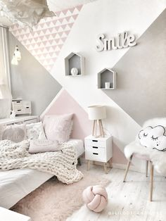 Image may contain: bedroom and indoor Bedroom Decor For Teen Girls, Cute Bedroom Ideas, Room Ideas Bedroom, Baby Room Decor, Room Baby, Ikea Girls Bedroom, White Bedroom, Home Room Design, Kids Room Design