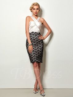 Staps Sheath Lace Pick-Ups Knee-Length Cocktail Dress