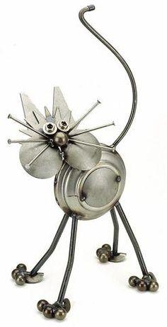 Charming Scrap Metal Cat Garden Stature by Yardbirds