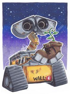 [6x4.5] The Plant | Wall-E Art Print Space Drawings, Colorful Drawings, Cute Disney Drawings, Cute Drawings, Walle Y Eva, Wall E Movie, Lion Tattoo Sleeves, Evil Disney, Plant Wall