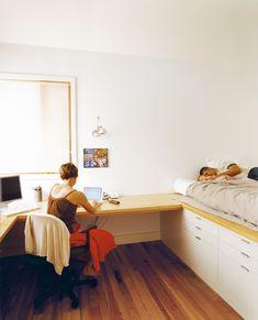 34 Ideas bedroom storage for small rooms space saving platform beds for 2019 Bedroom Desk, Bedroom Office, Home Office, Bedroom Storage For Small Rooms, Beds For Small Rooms, Space Saving Bedroom, Small Bedrooms, Platform Bedroom, Bed Platform