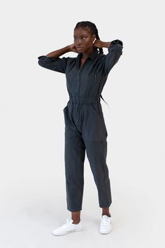 Designed so you can run, jump, climb and reach with minimal restriction. Made from brushed cotton twill that's soft-yet-sturdy. Boiler Suit, Harem Pants, Trousers, Color Combinations, Nice Dresses, Ready To Wear, Unisex, Tees, Sleeves
