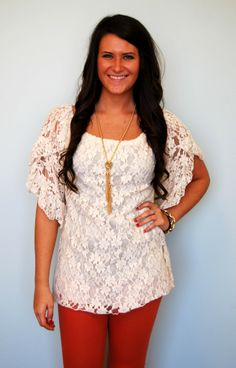 We love lace! This lined top would look great with any skinnies with cowboy boots. Our model is 5'6 and is wearing a medium.