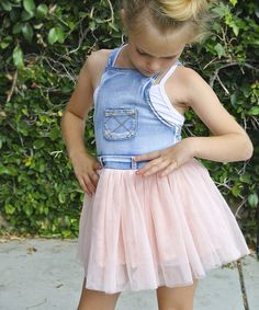 Look at this Pretty Cute Blue Denim Overall & Pink Tutu Skirt - Toddler & Girls on #zulily today!