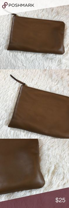 Aritzia Auxiliary Olis Large Brown Pouch A slightly larger version of the Keyser pouch, the Olis is made from a fancy leather. It's perfect for work, parties, brunches, lunches — pretty much everything. Content: 100% leather; Lining: 100% polyester. Gently used. Some small marks inside. Measurements soon. Big enough to carry your phone, make up and a small wallet. Aritzia Bags Clutches & Wristlets