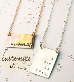 Keep a personal mantra, nickname or secret message close to the chest with this bar necklace. Formed by hand in silver, gold or rose gold, the small rectangle features a smoothly polished surface for your message to shine on. Top off any outfit, everyday to extra special, with the bold shape and personal touch of this necklace.