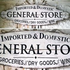 Wood store signs general store sign rustic signs vintage signs old general store signs wood signs Rustic Signs, Wooden Signs, Rustic Decor, Rustic Cafe, Rustic Restaurant, Rustic Colors, Kitchen Rustic, Rustic Cottage, Rustic Theme