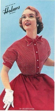 1950s fashion. High neck, circle skirt