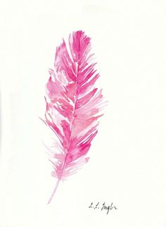 Pink Watercolor Feather Original Painting 9x12 by GrowCreativeShop