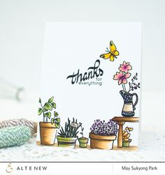 This stamp set is all about gardening. It is a 6″ x 8″ set and has many images from potted plants, to gardening tools, to little critters that you find in a garden. The images are drawn in a sketchy s