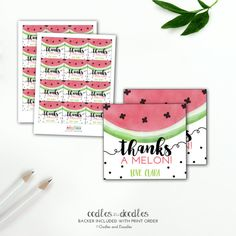 Thanks a MELON.. these adorable watermelon birthday favor tags are personalized and printable (so you can print as many as desired)!  | Party Printables by Oodles and Doodles, OandD.etsy.com