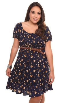 Cool Navy Floral Peasant Dress With Belt | Torrid Clothes Check more at http://fashionie.top/pin/37204/
