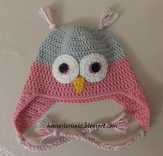 Hünerlerimiz: Baykuş Bere Yapılışı (Tığ işi) - Crochet Owl Hat Pattern Owl, Baby Hats, Crochet Patterns, Crochet Hats, Beanies, Amigurumi, Manualidades, Breien, Knitting Hats