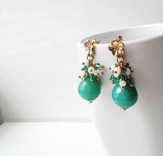 Aqua earrings, green jade earrings, Czech crystals earrings, handmade, dangle earrings. on Wanelo $20.00