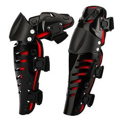 Tera 1 Pair of Adults Fashion Knee Shin Armor Protect Guard Pads Accessories with Plastic Cement Hook for Motorcycle Motocross Racing Color Red